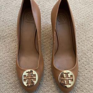 Tory Burch Sally Brown Leather Wedge Heels
